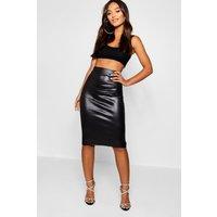Womens Petite Pu Pencil Skirt - Black - 6, Black