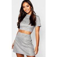 Womens Petite Glitter Sparkle A-Line Mini Skirt - grey - 6, Grey