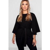 Womens Plus Kimono Sleeve Tie Waist Top - black - 26, Black