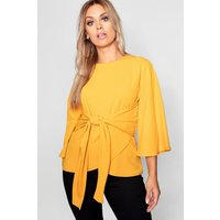 Womens Plus Kimono Sleeve Tie Waist Top - Yellow - 26, Yellow