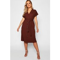Womens Plus Belted Button Down Midi Dress - brown - 26, Brown
