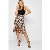 Womens Petite Leopard Print Satin Wrap Midi Skirt - brown - 12, Brown