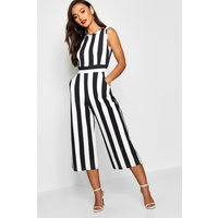 Womens Petite Monochrome High Neck Striped Jumpsuit - Black - 6, Black
