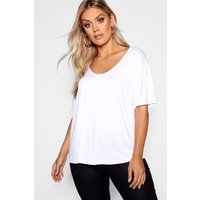 Womens Plus Super Soft Oversized Basic T-Shirt - White - 20, White