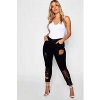 Womens Plus Ripped Cut Off Stretch Skinny Jeans - black - 24, Black