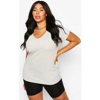 Womens Plus Basic Rib Oversized T-Shirt - Grey - 18, Grey
