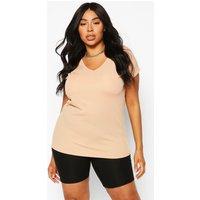 Womens Plus Basic Rib Oversized T-Shirt - Beige - 26, Beige
