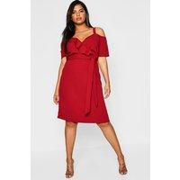Womens Plus Plunge Ruffle Belt Midi Dress - red - 20, Red