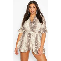 Womens Plus Snake Print Ruffle Wrap Playsuit - beige - 20, Beige