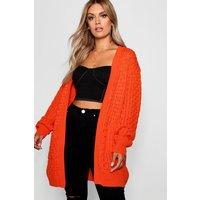Womens Plus Crochet Knitted Oversized Cardigan - orange - 20, Orange
