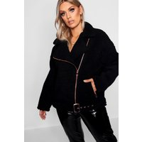 Womens Plus Teddy Faux Fur Biker Jacket - Black - 18, Black