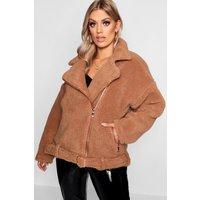 Womens Plus Teddy Faux Fur Biker Jacket - Brown - 24, Brown