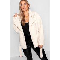 Womens Plus Teddy Faux Fur Biker Jacket - white - 22, White