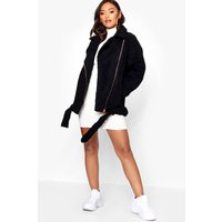 Womens Petite Teddy Faux Fur Biker Jacket - black - 10, Black