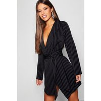 Womens Petite Pinstripe Tie Side Blazer Dress - Black - 6, Black
