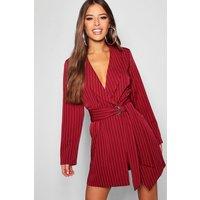 Womens Petite Pinstripe Tie Side Blazer Dress - red - 12, Red