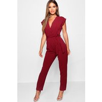 Womens Petite Pinstripe Wrap Over Jumpsuit - red - 8, Red