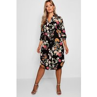 Womens Plus Floral Printed Shirt Dress - black - 16, Black