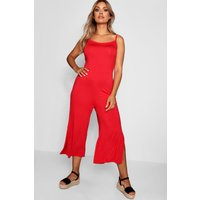 Womens Plus Jersey Culotte Jumpsuit - red - 22, Red