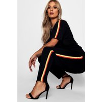 Womens Plus Rainbow Stripe Set - black - 24, Black