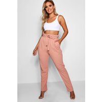 Womens Plus Paperbag Tapered Trouser - pink - 22, Pink