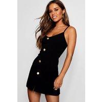 Womens Petite Gold Button Detail Shift Dress - black - 10, Black