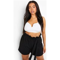 Womens Plus Paper Bag Waist Tailored Short - Black - 22, Black