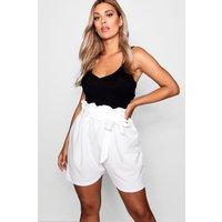 Womens Plus Paper Bag Waist Tailored Short - White - 16, White
