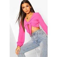 Womens Petite Tie Front Crop Top - pink - 16, Pink