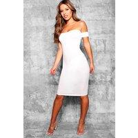 Womens Petite Off the Shoulder Midi Dress - white - 10, White