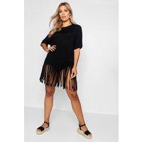 Womens Plus Tassel Beach Dress - Black - 22, Black