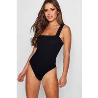 Womens Petite Rib Square Neck Thick Strap Bodysuit - Black - 8, Black