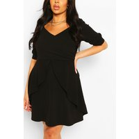 Womens Plus Ruffle Detail Wrap Skater Dress - black - 22, Black