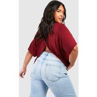 Womens Plus Jersey Split Open Back T-Shirt - red - 24, Red