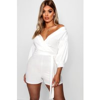 Womens Plus Wrap Off The Shoulder Playsuit - white - 20, White