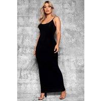 Womens Plus Slinky Strappy Maxi Dress - Black - 18, Black