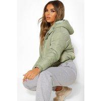 Womens Petite Hooded Crop Padded Coat - Green - 16, Green