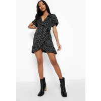 Womens Petite Polka Dot Ruffle Wrap Tea Dress - Black - 8, Black