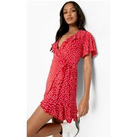 Womens Petite Polka Dot Ruffle Wrap Tea Dress - Red - 6, Red