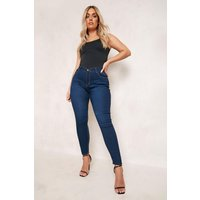 Womens Plus High Rise 5 Pocket Skinny Jeans - Blue - 16, Blue