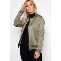 Womens Plus Scuba Bomber Jacket - Green - 18, Green