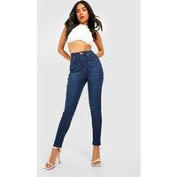 Womens Petite High Rise 5 Pocket Skinny Jean - blue - 14, Blue