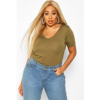 Womens Plus Supersoft V Neck T-Shirt - green - 16, Green
