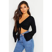 Womens Petite Knot Front Flare Sleeve Top - Black - 6, Black