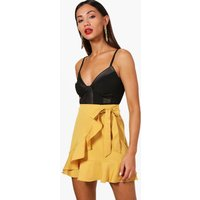 Womens Petite Ruffle Front Tie Waist Mini Skirt - yellow - 8, Yellow