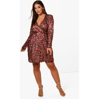 Womens Plus Two Tone Wrap Sequin Dress - Red - 24, Red