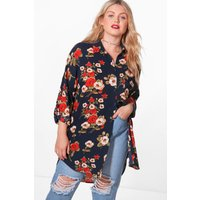 Emily Floral Oversize Shirt - navy