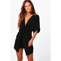 Womens Petite Twist Front Mini Dress - black - 10, Black