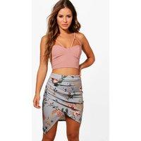 Emma Rose Print Ruched Slinky Mini Skirt - multi