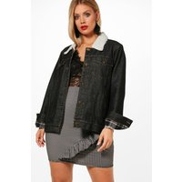 Lola Borg Lined Denim Jacket - black